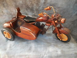 Handcrafted Toy Motorcycle Wooden Antique With Sidecar Vintage 15