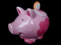 Collectibles Cookie Jars Pink Fat Pig Kitchenware Vintage Kitchen And Home