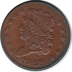 1828 Half Cent 13 Star Variety Uncirculated R/b