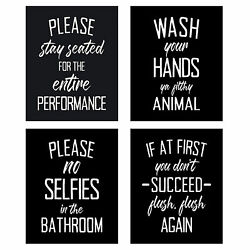 4pcs pack Picture Canvas Painting Bathroom Decor Wall Art Accessory Funny Signs