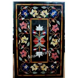 Colorful Flower Art Inlaid Conference Table Top Marble Patio Dining Table Top