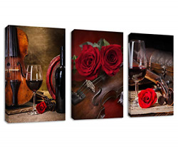 Kitchen Wall Art Decor Red Rose Canvas Wall Art Violin Wine Cup Musical Pictures