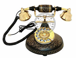 Vintage Brass Antique Rotary Phone Old Fashioned Telephone French Christmas Gift