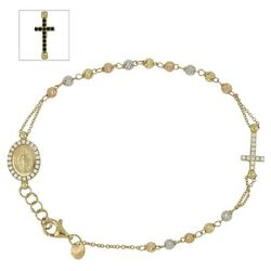 Tri-color Gold 18 Kt 750/1000 With Cubic Zirconia Rosary Bracelet