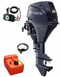 9.8hp Tohatsu Short Shaft 4-stroke Electric Start Outboard + Remotes And 12l Tank