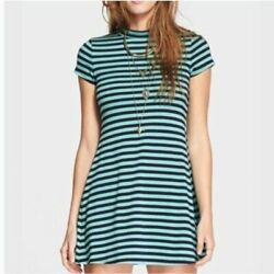 Free People Beach On the Line Striped Ponte Dress Green Blue Size S $25.00