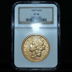 1869-s 20 Gold Liberty ✪ Ngc Xf-40 ✪ Extra Fine Double Eagle Scarce ◢trusted◣