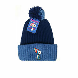Vintage Hat 1958 SNOOPY Hat NEW Blue Knit Peanuts Hat Made in USA *PRIMO*