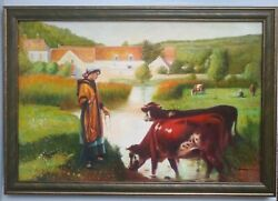 Pastoral Landscape Farmhouse Country Living Original Painting On Canvas Signed