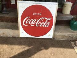 Vintage Original 1950and039s Metal Coca Cola Embossed Button Sign 36x36 X 2 1/2