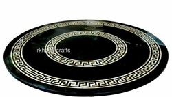 Black Round Marble Conference Table Top Luxurious Inlay Art Dining Table Top