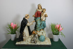 Rare Antique French Chalkware Church Statue Saint Dominic Appearance Mary Child