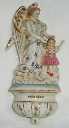 Very Beautiful Antique Porcelain Holy Water Font Angel With A Little Girl
