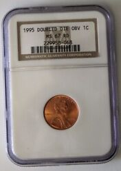 1995 Double Die Obverse Lincoln Cent - Ngc Ms67 Rd