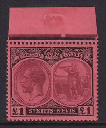 St Kitts-nevis 1922 £1 Purple And Black/red Sg 36 - Mnh