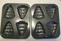 2-non-stick Christmas Tree Cookie Muffin Cake Pan Mold Brand New