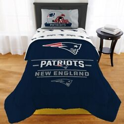 New England Patriots Monument Twin Or Xl Comforter With Twin Sheet Set