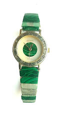 Malachite Watch Vintage For Parts Or Repair Stainless Steel