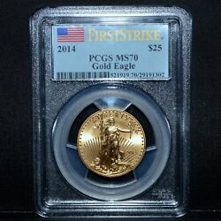 2014 25 Gold American Eagle ✪ Pcgs Ms-70 ✪ 1/2 First Strike Label ◢trusted◣