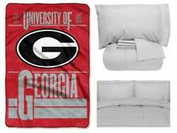 Georgia Bulldogs Oversized Blanket With Matching Twin Comforter And Sheet Set