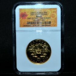 2004 Canada 50 Gold Maple Leaf ✪ Ngc Ms-69 ✪ 25th Anniversary 1 Oz Ozt◢trusted◣