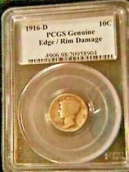 1916-d Mercury Dime Key Date Rare -pcgs Damage Rim On The Edge Top Of A