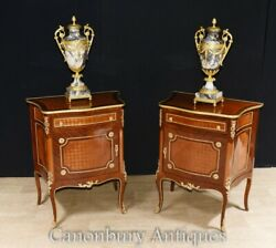Empire Bedside Cabinets - French Bedroom Chests Parquetry Inlay