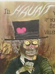 Vintage Valentine Card Ghoul Skull Head Scary Top Hat Iand039ll Haunt You Unused Rare