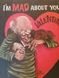 Vintage Valentine Card Crazed Mad Man Ghoul 2 Rats Iand039m Mad About You Unused Rare