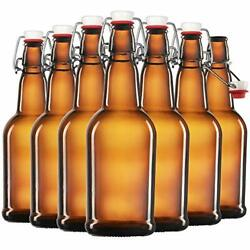 6 Pack Amber Glass Swing Top Beer Bottles 16 Ounce Flip-top Airtight Lid Kitchen