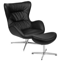Retro Black Leather Swivel Wing Back Accent Chair With Ottoman And Aluminum Base