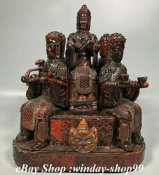 16 Rare Ox Horn Carving Wealth 5 Road Mammon God Caishen Set