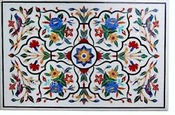 White Marble Reception Table Top Hand Inlaid Dining Table With Colorful Flowers