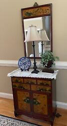2 Piece Oriental Rosewood Hallway Cabinet Chest With Mirror 32 X 28 Pick Up