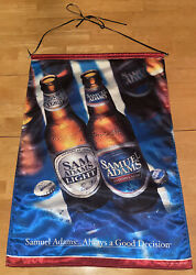 Large Samuel Adams And Sam Adams Light Double Sided Satin Cloth Beer Banner