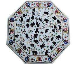 White Marble Decorative Table Top Inlay With Animals Pattern Dining Table Top