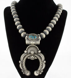 Sterling Silver Bead Necklace With Natural Bisbee Turquoise Naja