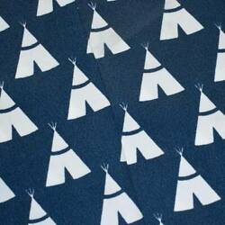 Ink Blue White Premier Teepee Printed Canvas Decor Fabric Fabric By The Yard