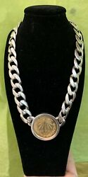 Mexican Peso Coin Sterling Silver Cuban Link Choker Pendant Necklace 145 Grams
