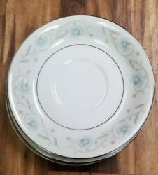 Set Of 3 English Garden 1221 Japan - Fine China - Saucer - 6 Blue And Pink Flower