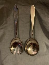 Reed And Barton Silver Plated Salad Set 2pc Classic Fs Benefits Charity Usa