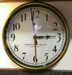 Stromberg Vintage Working Brass Clock With Lanshire Motor Usa Made 13 1/2