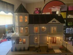 Dollhouse Victorian Electrical Beautiful Artisan Doll House Finished Blue/white