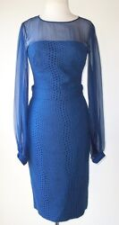 Zuhair Murad Blue Embroidered Lace Belted Sheer Sleeve Dress 2  4