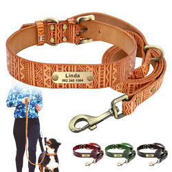 Custom Leather Padded Personalized Dog Collar With Walking Leash Lead Set Xs-2xl