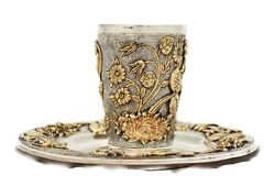 Italian 925 Sterling Silver And Gilded Handmade Floral Appliques Chased Cup And Tray