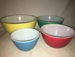 Vintage Pyrex Primary Color Mixing Bowl Full Set Nesting Bowls