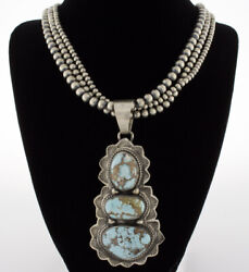 Sterling Silver Bead Necklace With 3-stone Natural Golden Hill Turquoise Pendant