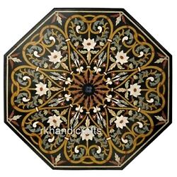 Black Marble Dining Table Top Floral Pattern Reception Table From Cottage Crafts