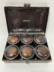 Antique Primitive Toleware Spice Tins Canisters With Original Box